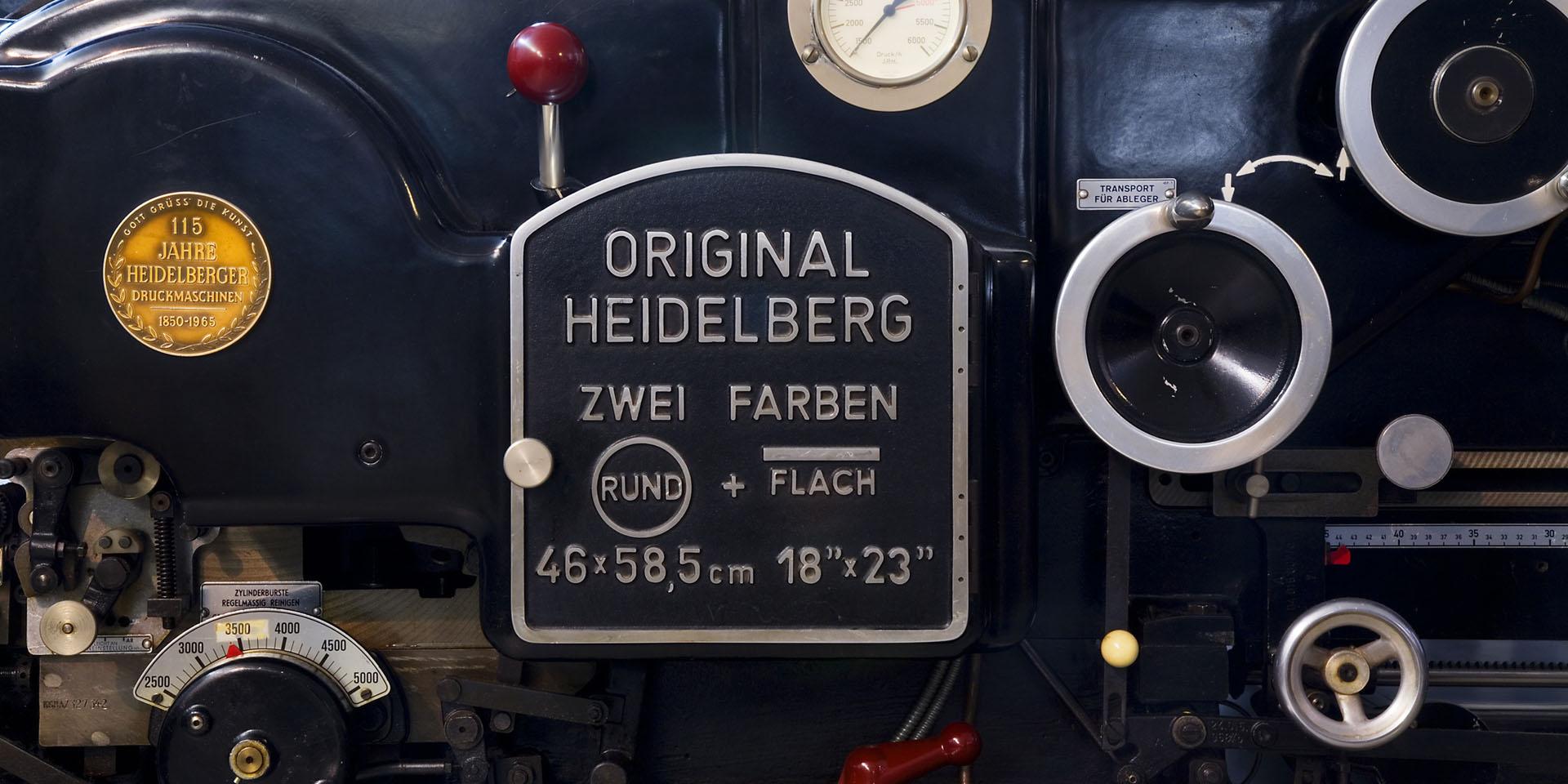 Heidelberg two color printing press detail